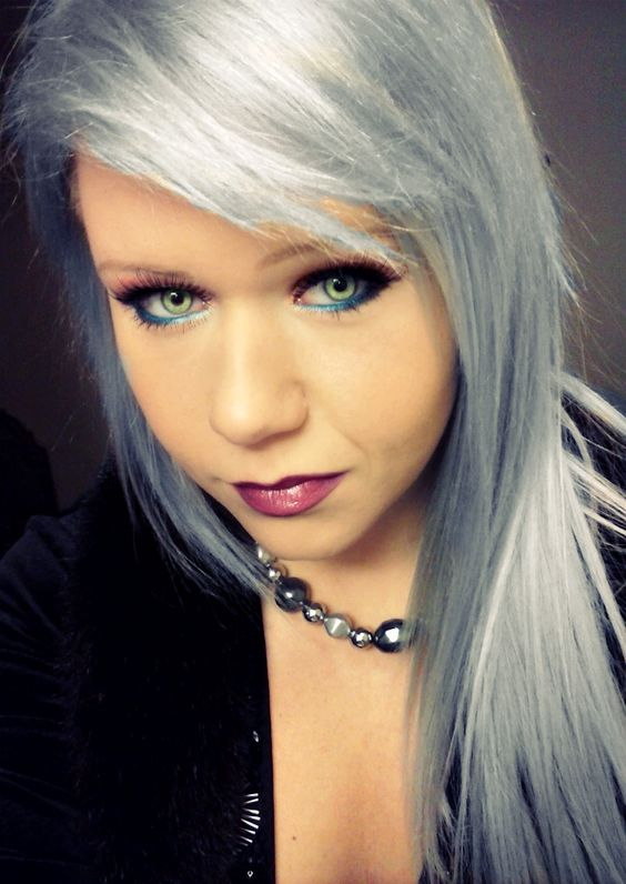 Silver Dyed Hair Cosmetics Green Eyes Color Style #hair # ...