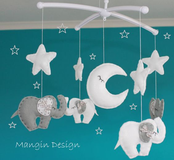 Gorgeous elephant cot mobile elephant baby cot decorations for Baby cot decoration