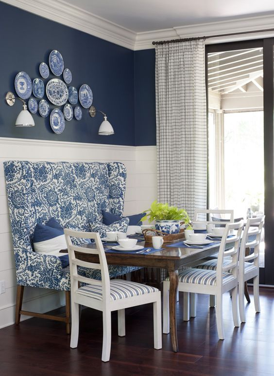 Blue and White Dining Area: