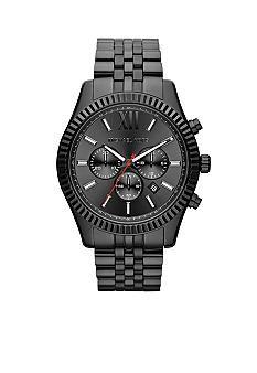 Michael Kors Men's Black Stainless Steel Lexington Chronograph Watch #belk #gifts #men