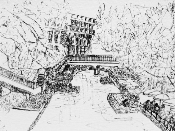 This is a pen and ink sketch on watercolor paper from a street level bridge overlooking the San Antonio Riverwalk.
