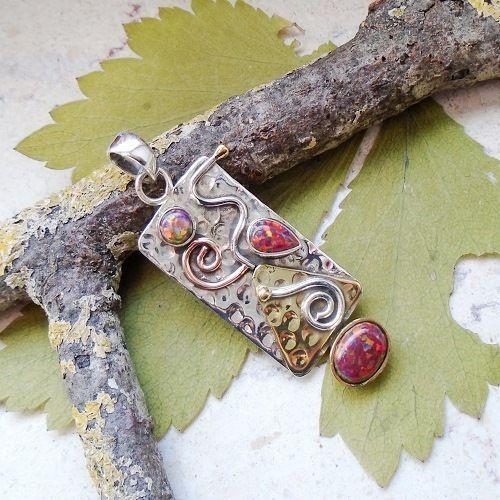 Dichroic Glas, rot, teilvergoldet, Anhänger, 925 Sterling Silber in Uhren &…