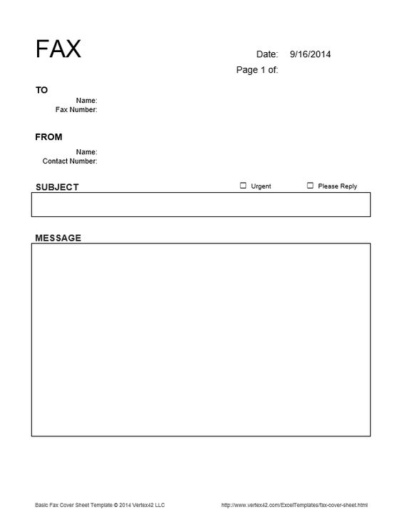 Download the Basic Fax Cover Sheet from Vertex42.com ...