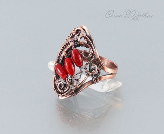 Signet of copper with coral by OlgaDubrovina on Etsy