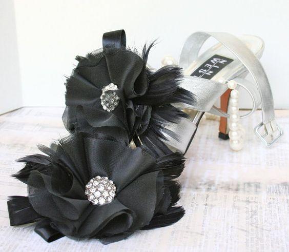 Bridal Shoe Clips Black #wedding #prom #black #bridal #accessories #shoeclips #handmade #etsy
