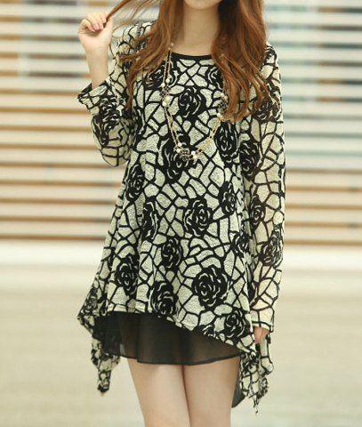 Stylish Faux Twinset Long Sleeves Asymmetric Rose Knurling T-Shirt For Women