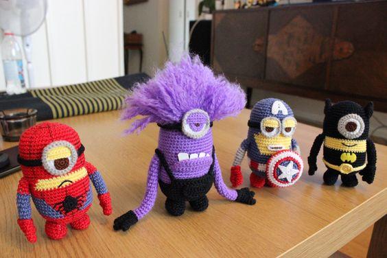 Amigurumi Minion Superheroes : Minion Super hero doll pattern Pinterest Crochet ...