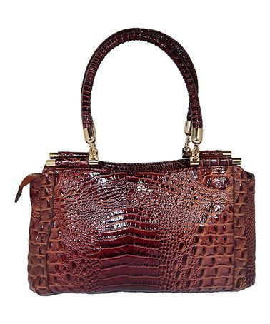 Another great find on #zulily! Brown Alligator Satchel by Vecceli Italy #zulilyfinds