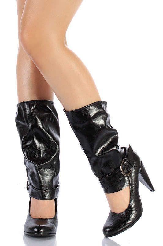 Sexy open faced boot, calf-high.