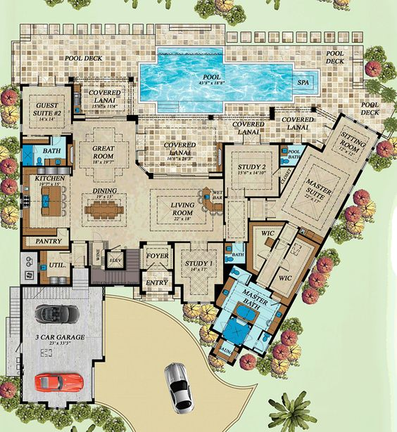 Coastal florida mediterranean house plan 71543 house for Florida mediterranean house plans