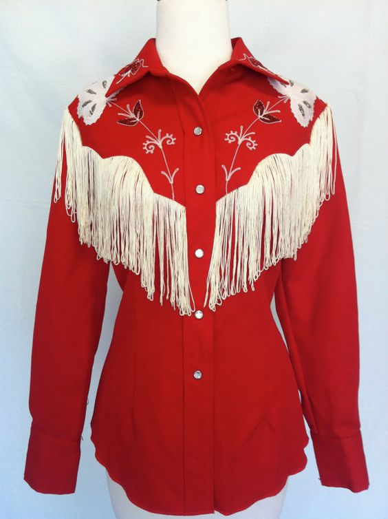 Vintage Red Rockabilly Western Shirt With White Fringe