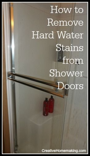 Remove hard water stains from your shower doors with these - Bathroom cleaner for hard water stains ...