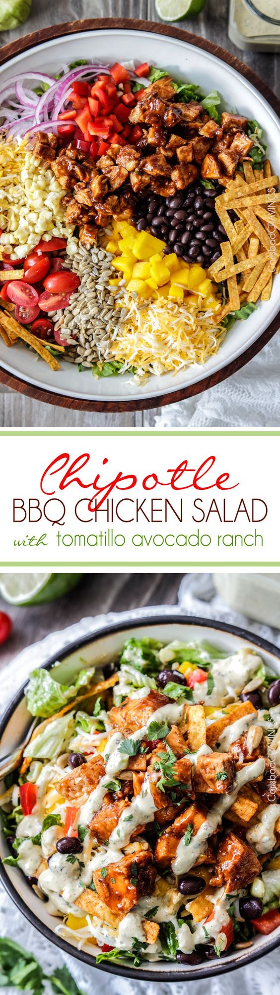 Chipotle BBQ Chicken Salad with 5 Minute Blender Tomatillo Avocado Ranch Dressing Recipe via Carlsbad Cravings - This is WAY Better than your favorite restaurant salad at a fraction of the cost packed with crunchy veggies, crispy tortilla strips, tender barbecue chicken and the most intoxicating dressing!