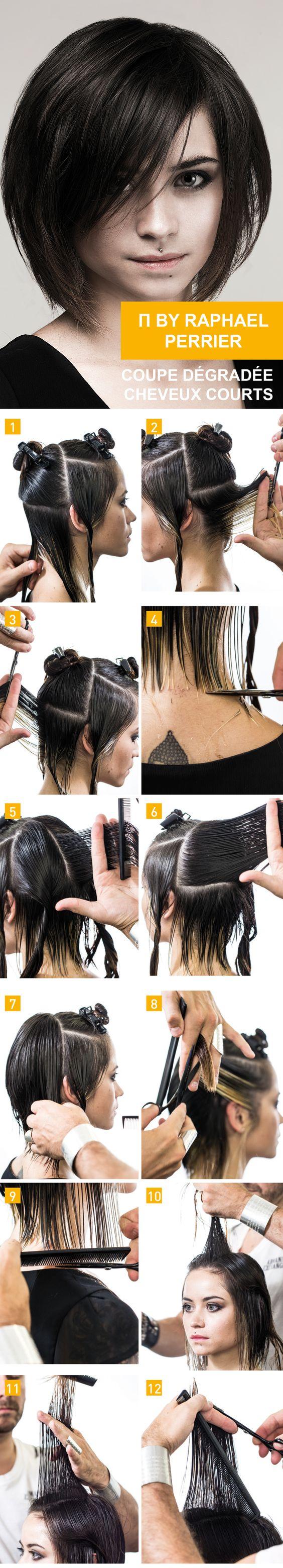 By raphael perrier coupe d grad e cheveux courts r alisation 25 minutes tutoriel coiffure - Pinterest coiffure femme ...