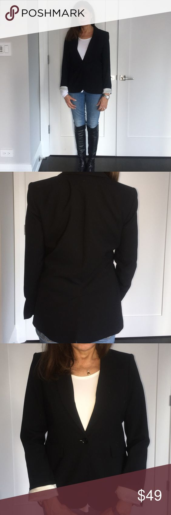 Black Wool Blazer Silk Lined Black Wool Blazer with 5% Spandex. Turn up the Cuff and Display the Black and White Silk Pinstriped Pattern.  One Button Front Closure. Pure Casual Elegance. A Wardrobe Staple! Banana Republic Jackets & Coats Blazers