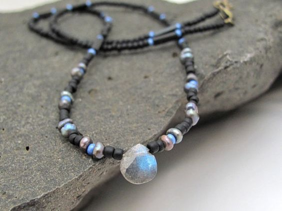 Labradorite Necklace Seed Bead Necklace Beaded by MissCecesJewels