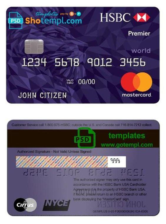 Usa Hsbc Bank Mastercard Premier World Credit Card Template In Psd Format Fully Editable Visa Card Numbers Credit Card Credit Card Online