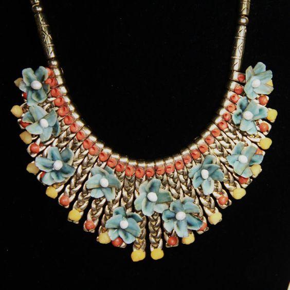 SEASHELL Embellished Bib NECKLACE w/Blue Chiton by queenofshellart, $65.00