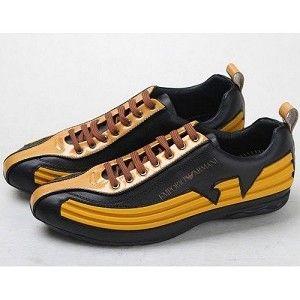 Giorgio Armani Yellow Black LaceUp Sneakers