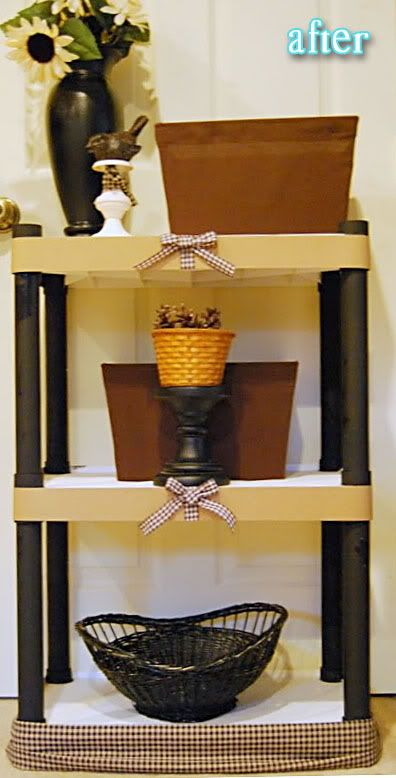 I have these shelves...think I will paint them this weekend and store in my room. I like this idea