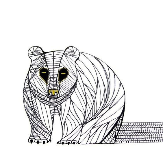 BEAR LINE DRAWING- Art by Thailan When | Pappor, Djur och Konst