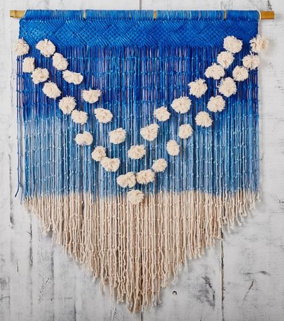 Blue Ombre Macrame Wall Hanging