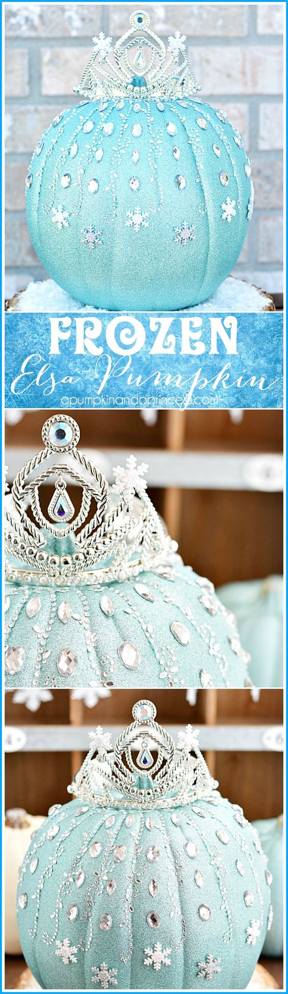 DIY Disney Frozen Elsa Pumpkin ~ a sparkly pumpkin made with glitter, rhinestones, and snowflakes that every little princess will enjoy!