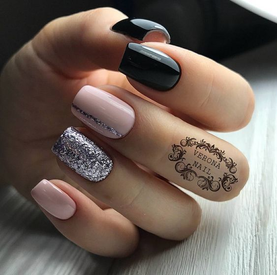 81 Short Nail Design Ideas For Summer 2019 Black Nails With