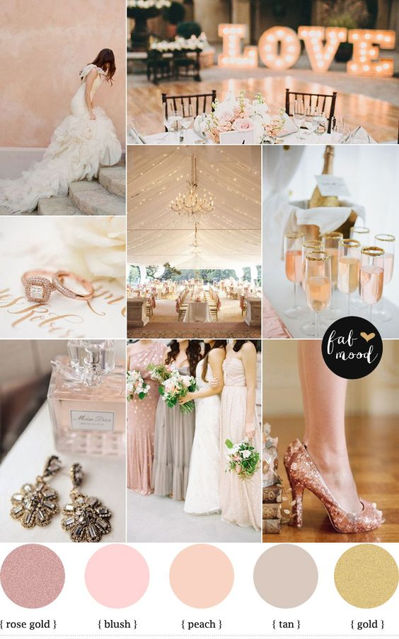 Rose Gold Wedding Color Palette,rose blush gold wedding theme, www.MadamPaloozaEmporium.com www.facebook.com/MadamPalooza