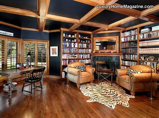 Acre English Tudor Estate Woodside CA Luxury Homes Library House
