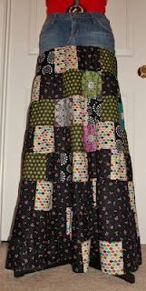patchwork and jean skirt