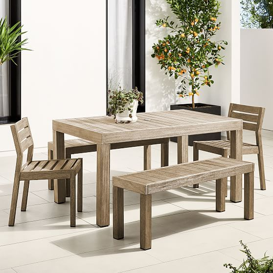 Portside Outdoor 58 5 Dining Table 2 Benches 2 Solid Wood