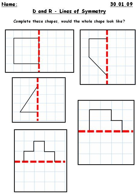 Drawing Lines Of Symmetry : Pattern worksheets symmetrical ks