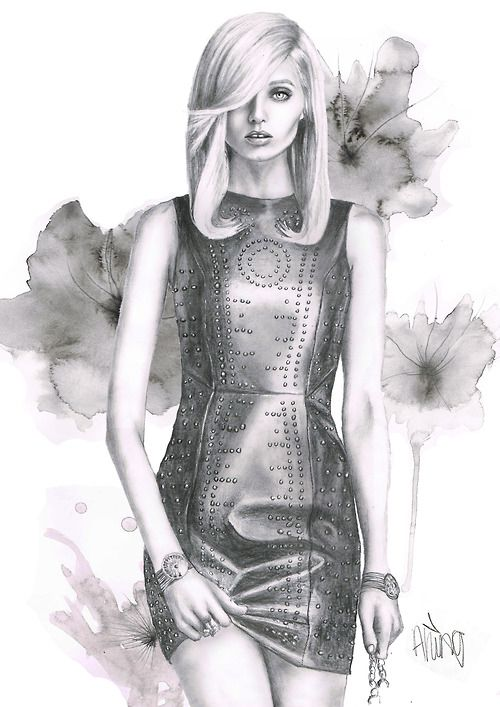 Pencil & watercolour fashion illustration; Versace dress sketch // Abbey Lee Kershaw
