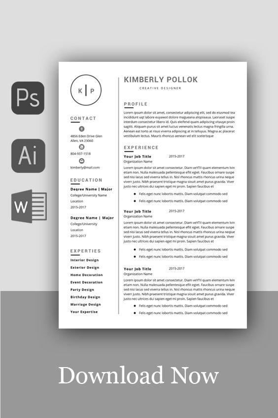 Resume Template Professional Resume Template Instant Etsy Resume Template Word Resume Template Free Teacher Resume Template
