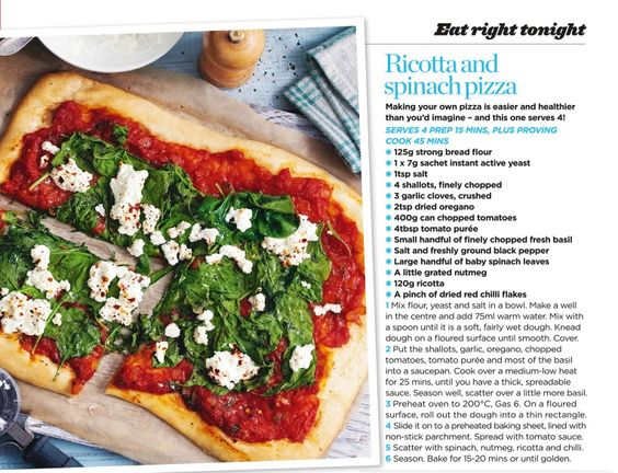 ... mains slimming stuff and more spinach pizza spinach pizza ricotta