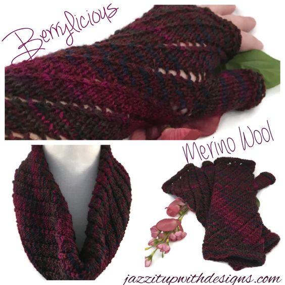 Infinity Scarf and fingerless glove set berry wine merino wool twisted pattern