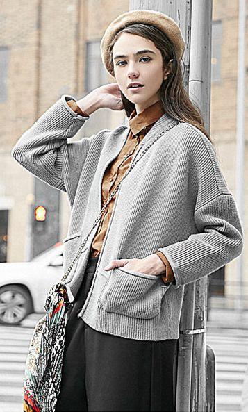 Dropped Shoulder Pockets Short Loose Sweater