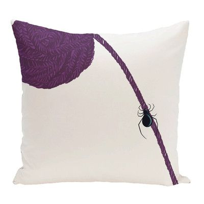 """The Holiday Aisle Eensy Weensy Spider Holiday Print Throw Pillow Size: 18"""" H x 18"""" W, Color: Purple"""