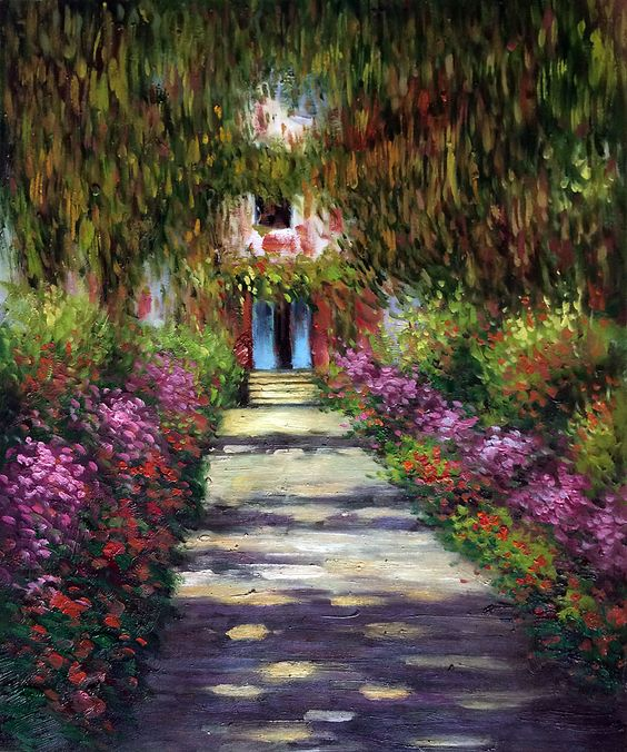 Wall Art Monet Garden Path at Giverny Painting Reproduction