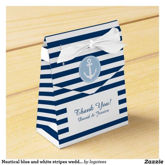 Nautical blue and white stripes wedding favor box