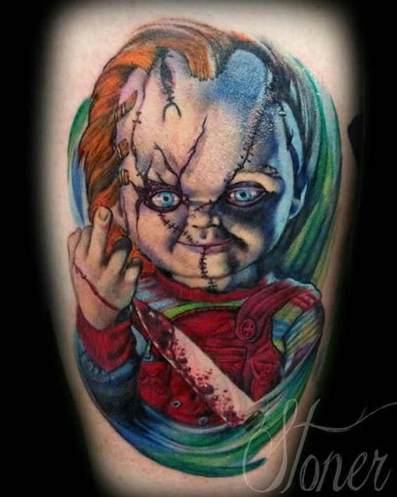 amazing chucky tattoo by adam stoner tattoos pinterest. Black Bedroom Furniture Sets. Home Design Ideas