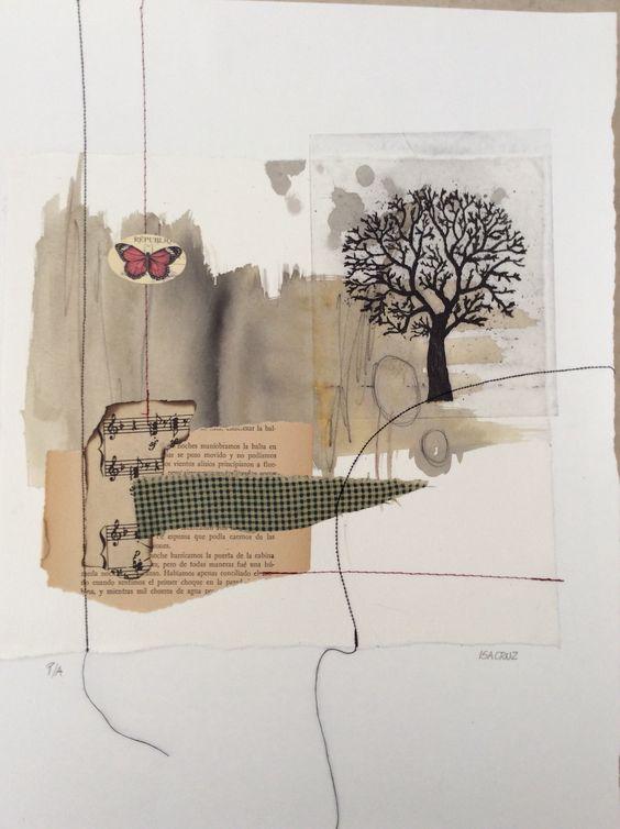 Grabado con papel, tela y costura