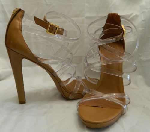 Tory Burch Size 10 Clear Strap Heel Sandal Tan Brown Leather New