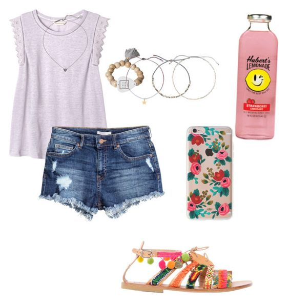 Weekend getaway ♡ :) by ryleeolson on Polyvore featuring polyvore, fashion, style, Rebecca Taylor, H&M, Elina Linardaki, Electric Picks, Estella Bartlett, Kendra Scott, Rifle Paper Co and clothing