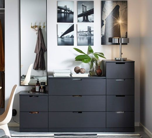 NORDLI 9-drawer chest - anthracite in 2019 | Bedroom chest ...