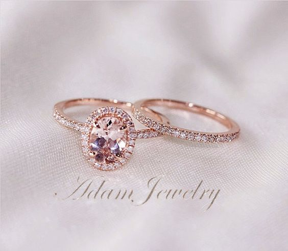 Morganite ring Halo and Rose gold on Pinterest