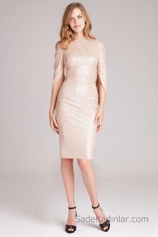 Pudra Pembesi Abiye Modelleri Dizboyu Yetim Yirtmacli Kol Kayik Yaka Payetli Moda Vintage The Dress Resmi Elbise