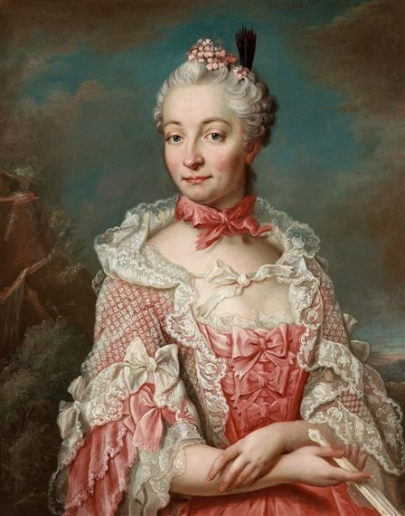 Artwork by Jakob Björk, Young lady in a pink dress with lace, Made of Relined canvas
