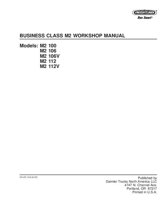 Freightliner Business Class M2 100 106 112 Workshop Repair Service Manual Pdf Download Freightliner Business Class Manual
